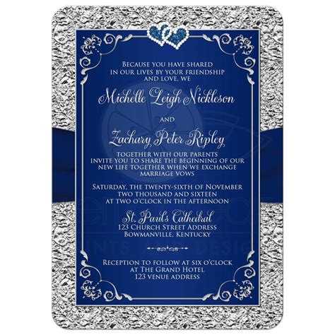 Wedding Invitations Navy Blue by Wedding Invitation Navy Blue Silver Joined Hearts