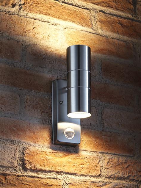 outdoor double wall light auraglow pir motion sensor stainless steel up down