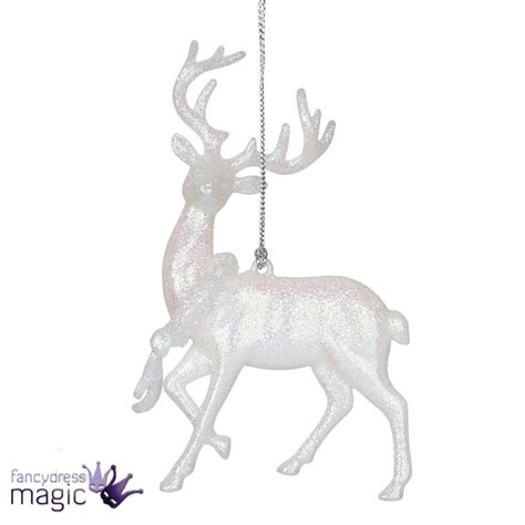 hanging reindeer stag wreath white iridescent glitter