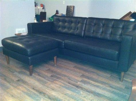 ikea karlstad leather sofa ikea hackers mid century leather karlstad sofa ottoman