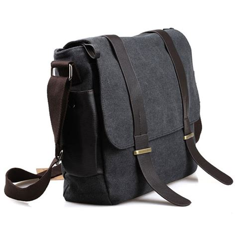 tas canvas kulit travel tas selempang pria korean canvas messenger bag black