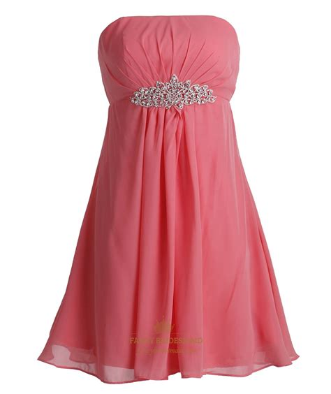 Coral Bridesmaid Dress by Coral Chiffon Empire Strapless Bridesmaid Dresses