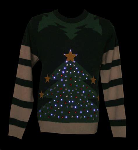 unisex green led light up christmas tree knitted jumper