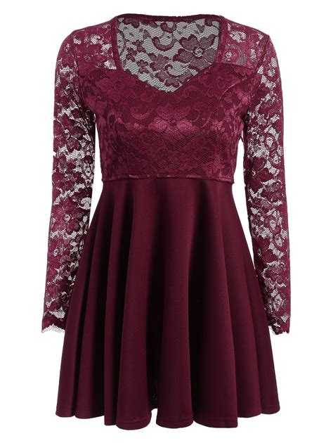 Lace Panel Shorts sleeve lace panel dress wine m in lace