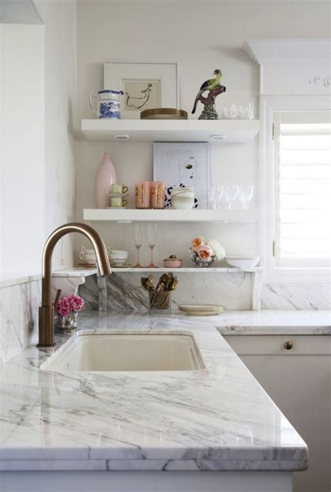 Kitchen Countertop Shelf Marble Countertops Eclectic Kitchen Meredith Heron Design