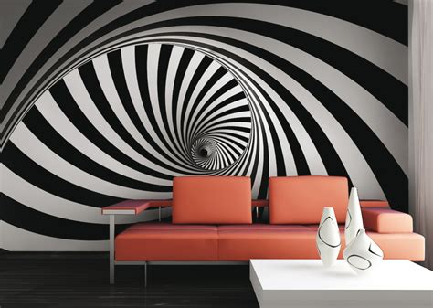 3d style black and white wall mural wallpaper grafic retro 3d design burble photo