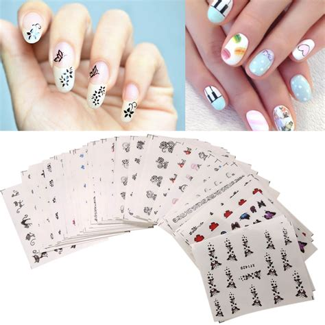 Nail Sticker Water Decal For Nail Stiker Kuku 24 50sheets lot watermark nail stickers mixed flower nail water transfer sticker decals
