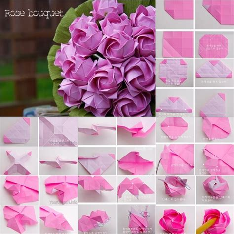 Origami Paper Roses - diy beautiful origami paper bouquet fab diy