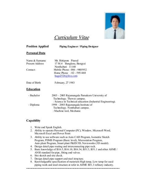 resume format in thailand en mr rittiporn pinrod resume update 13 03 15