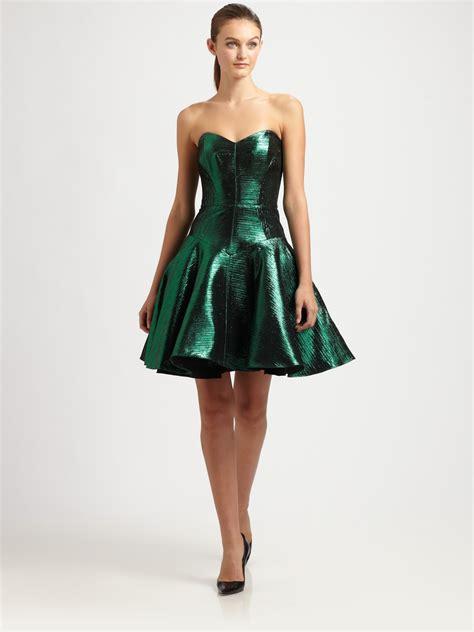 Metallic Dresses by Milly Metallic Dress In Green Lyst