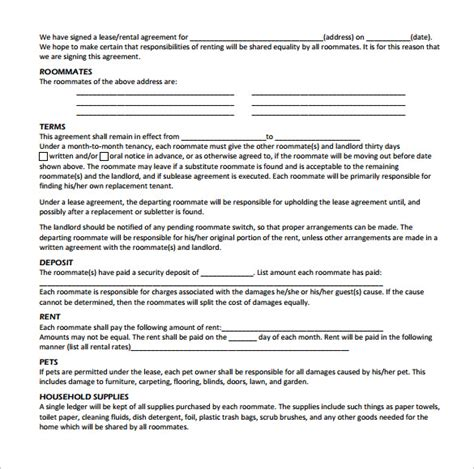 Agreement Letter For Roommate Sle Roommate Rental Agreement 14 Free Documents In Pdf Word