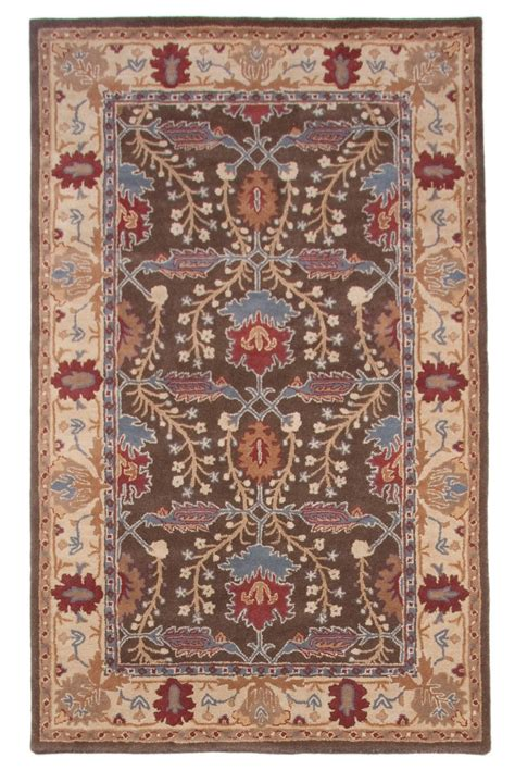 Wool Area Rugs Brown Beige Antique Traditional Tufted Wool Area Rug Carpet 5x8
