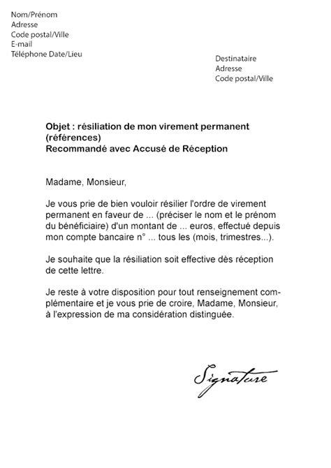 Exemple Lettre De Recommandation Bancaire Lettre De R 233 Siliation Virement Permanent Mod 232 Le De Lettre