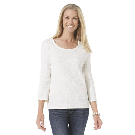 basic editions knit basic editions s textured knit top print