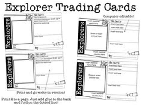 Character Trading Cards Template 3rd Grade by Social Studies New World Explorers On