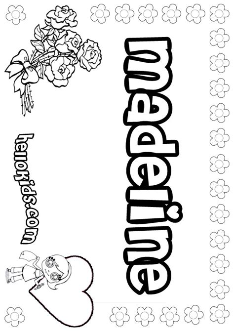 girls name coloring pages madeline girly name to color