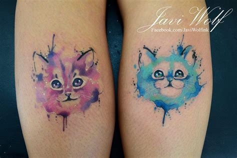 watercolor tattoos cat gatitos en acuarelas by javi wolf tatoo and cat