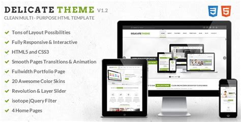 Delicate Responsive Multipurpose Html5 Template Themeforest Interactive Html5 Website Templates