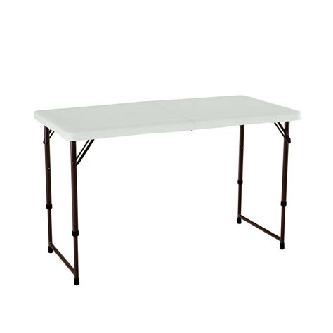 lifetime fold in half table lifetime 4 ft almond adjustable height fold in half table