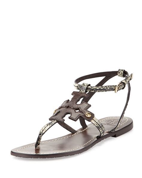 torey burch sandals burch phoebe snake embossed flat sandal in black
