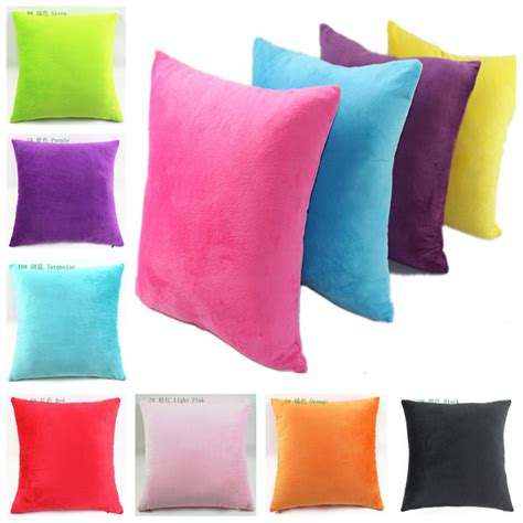 cheap decorative bed pillows cheap hot selling candy colored two sided pure super soft