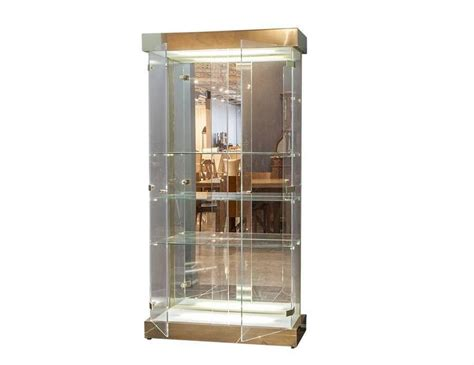 Glass Curio Cabinets For Sale by Lucite And Glass Mid Century Modern Curio Cabinet For Sale