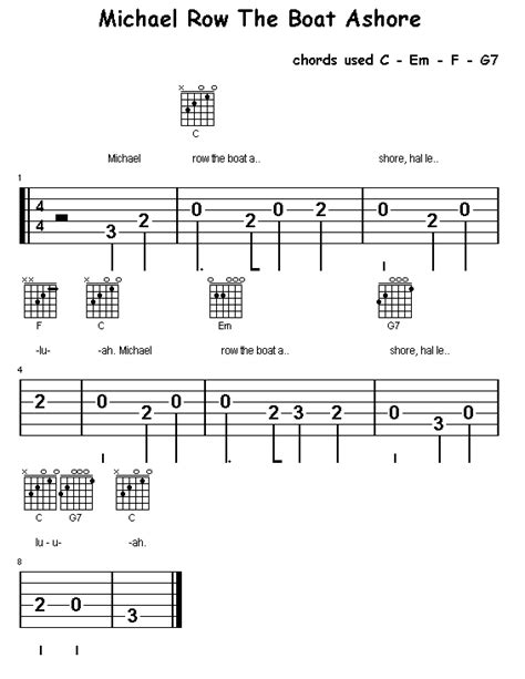 michael row the boat guitar chords section 4 michael row the boat ashore c em f g7 chords