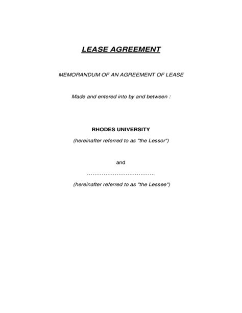 sle memorandum of agreements memorandum of lease agreement template free