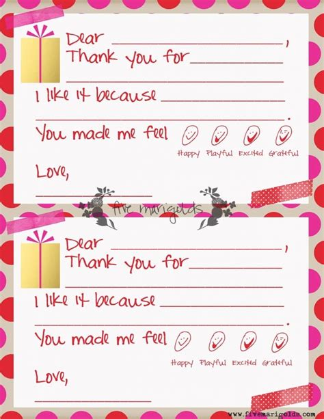 Thank You Letter Format For Students thank you note templates for five marigolds