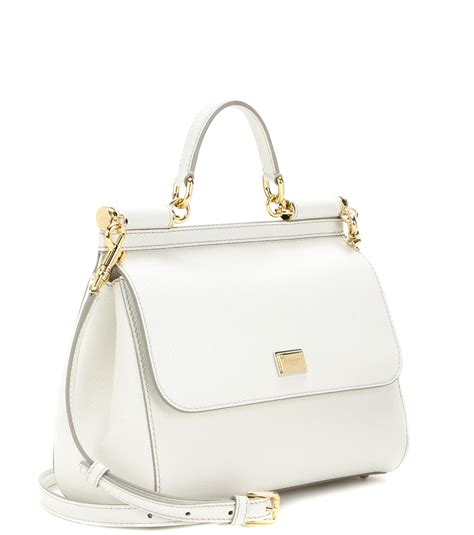 Dolce And Gabbana White Open Leather Bag by Lyst Dolce Gabbana Miss Sicily Medium Leather Shoulder