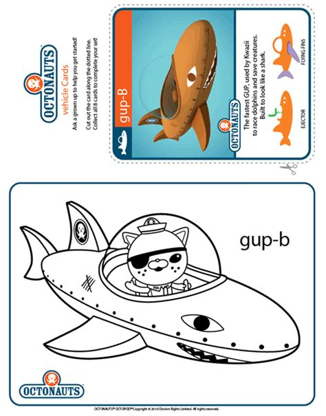 Gup C Coloring Page by Octonauts Colour Gup B Treehouse Colouring In Sheets