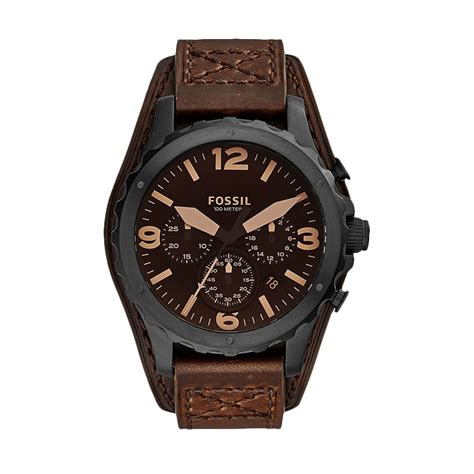 Fossil Me3041 Pria Leather Black jual fossil jr1511 nate chronograph mate leather jam