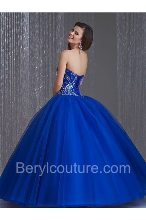 blue beaded gown stunning gown strapless royal blue tulle beaded