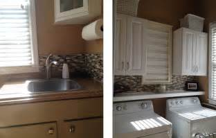 How To Install A Mosaic Tile Backsplash In The Kitchen by Casalupoli Laundry Room Update Glass Mosaic Backsplash