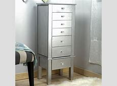 Hannah Jewelry Armoire ~ Silver Leaf | Hives and Honey Jewelry Armoire With Mirror