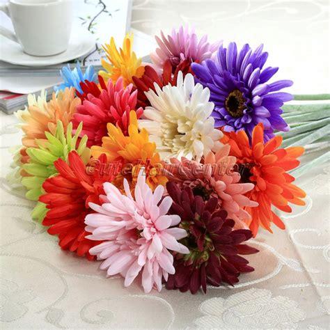 2016 New 21pcs Artificial Decorative Flowers 2016 New 5pcs Silk Artificial Gerbera Flower Wedding Special Occasion Home Garden