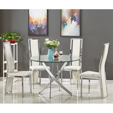 glass dining table with white chairs daytona glass dining table with 4 collete white