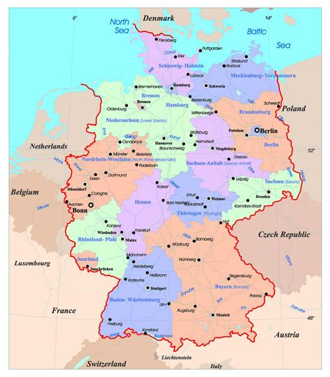 labeled map of germany detailed administrative map of germany with major cities