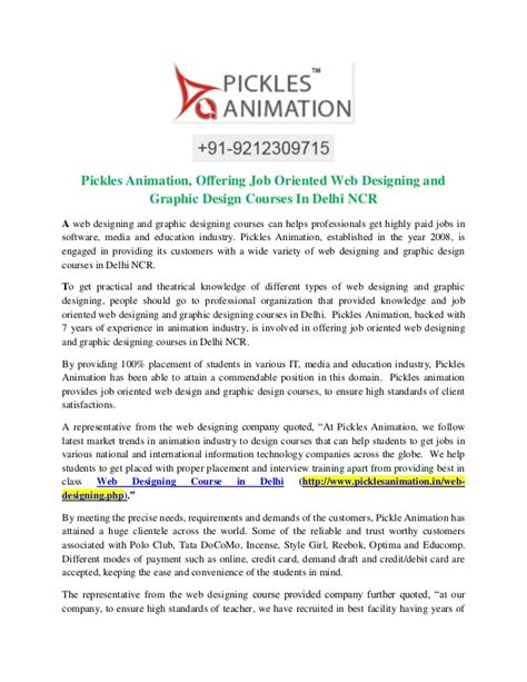 pattern master jobs in delhi ncr pickles animation offering job oriented web designing and