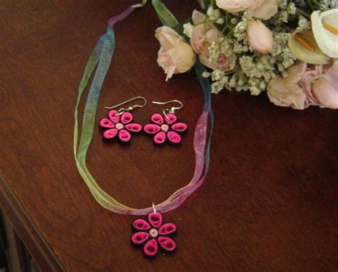 Best Seller Blue Flower Choker Playsuit handcrafted pink flower necklace and earrings paper quill new sets