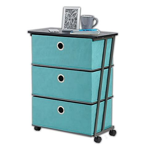 bed bath and beyond cart studio 3b 3 drawer wide storage cart in aqua bed bath