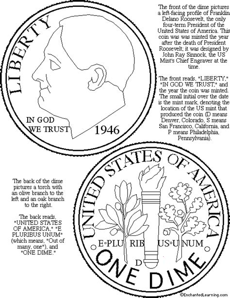 coloring pages money math us dime coloring page printout enchanted learning