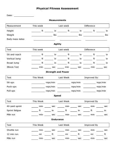 5+ Physical Assessment Forms – Word Templates