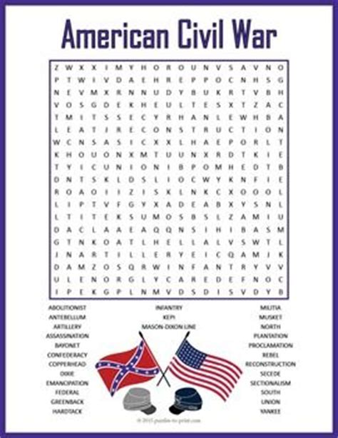 Civil War Search Civil War Word Search Puzzle A Word Search Puzzle Based On