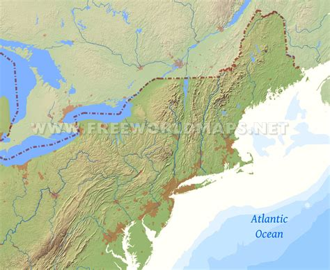 map of the northeast usa northeastern us physical map