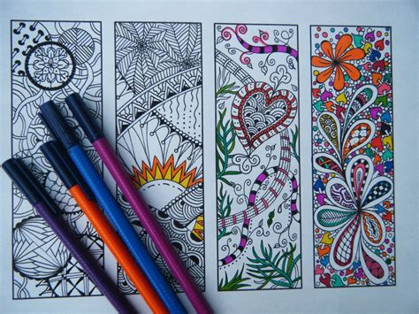 printable bookmarks etsy printable bookmarks bookmark coloring page zentangle