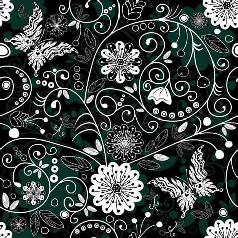 white and black and green seamless floral pattern with
