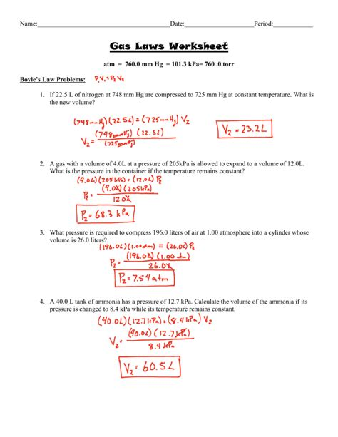 Gas Laws Worksheet 1 Answer Key by Uncategorized Pressure Problems Worksheet