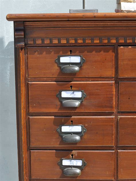 Multi Drawer Dark Wood Filing Cabinet Home Barn Vintage