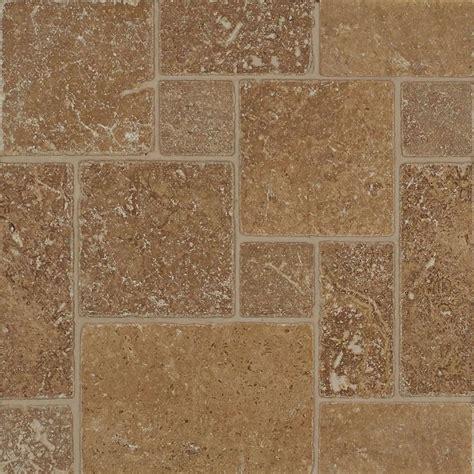 tilecrest travertine mini versailles pattern mosaic noce